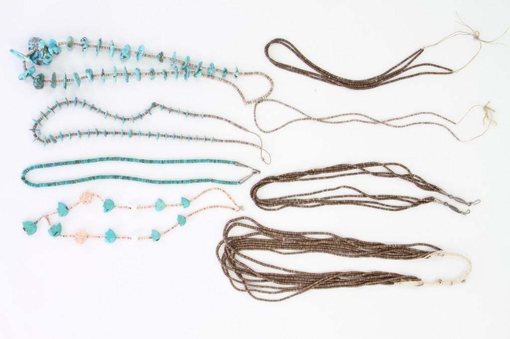 Eight Santo Domingo or Navajo necklaces