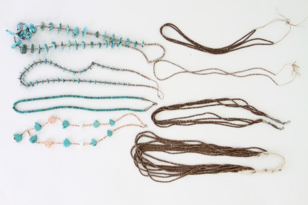 Eight Santo Domingo or Navajo necklaces - 2