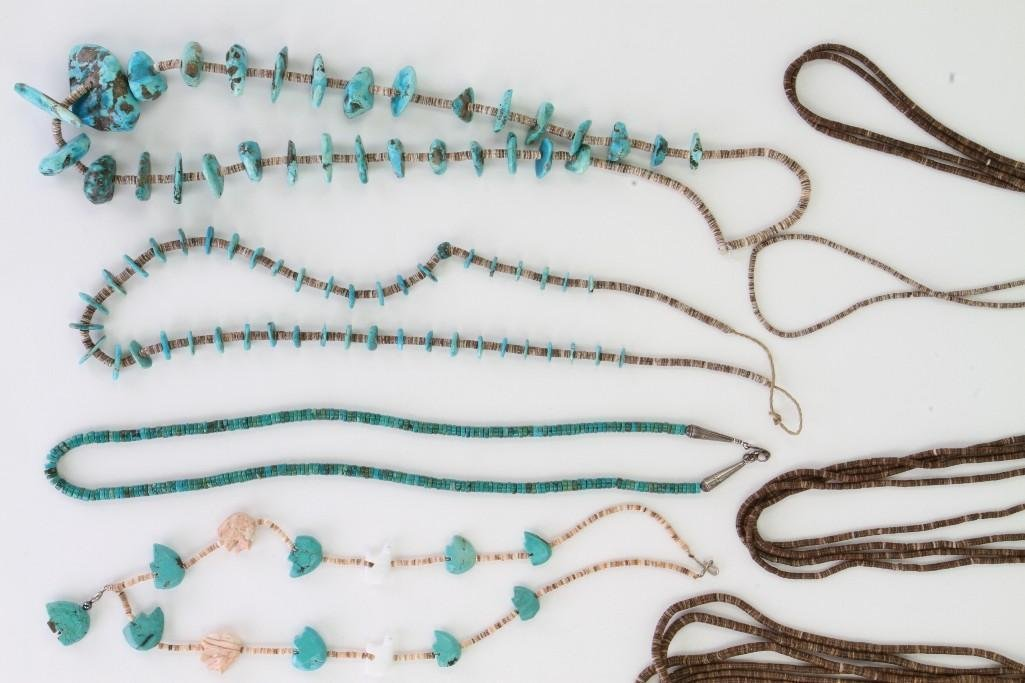 Eight Santo Domingo or Navajo necklaces - 3