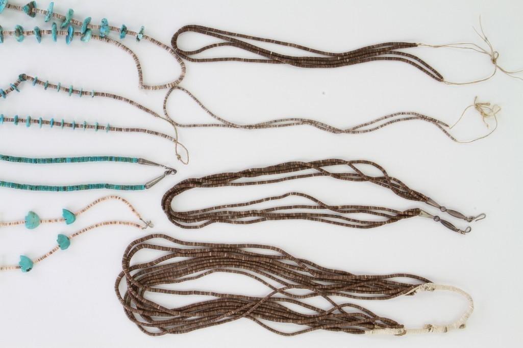 Eight Santo Domingo or Navajo necklaces - 4