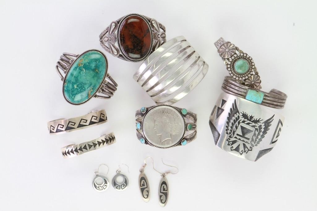 Collection of Navajo and Hopi bracelets and earrings - 2