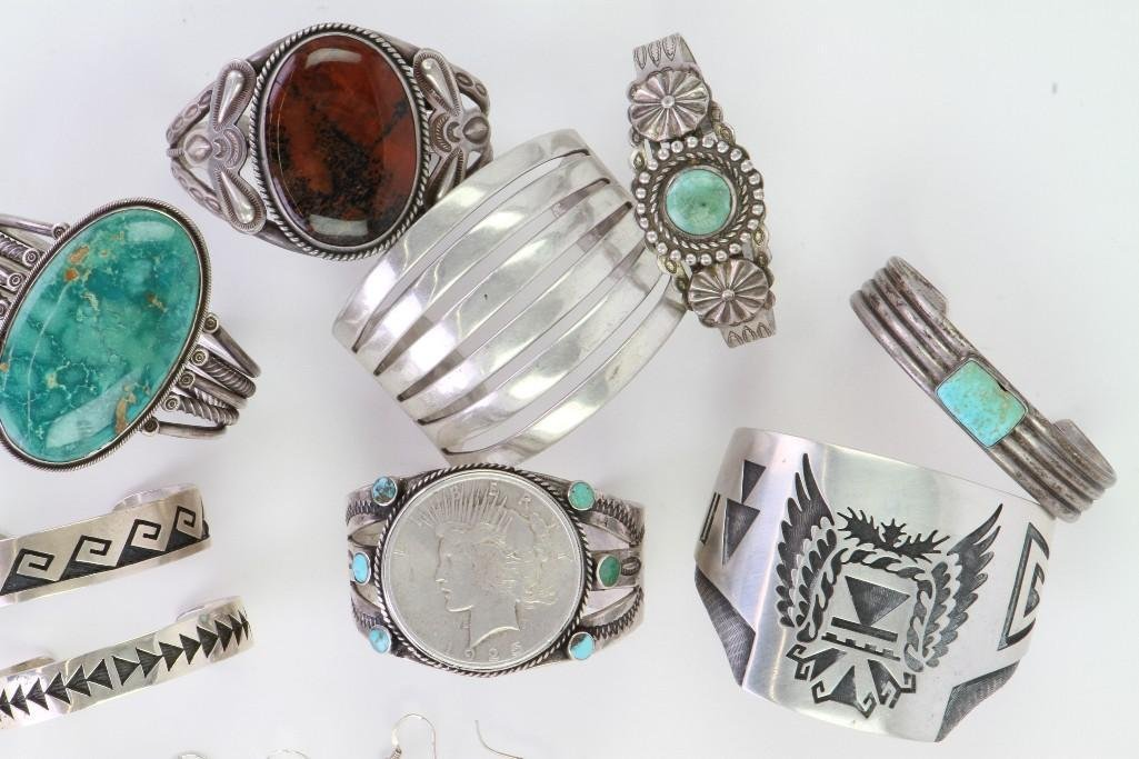 Collection of Navajo and Hopi bracelets and earrings - 3