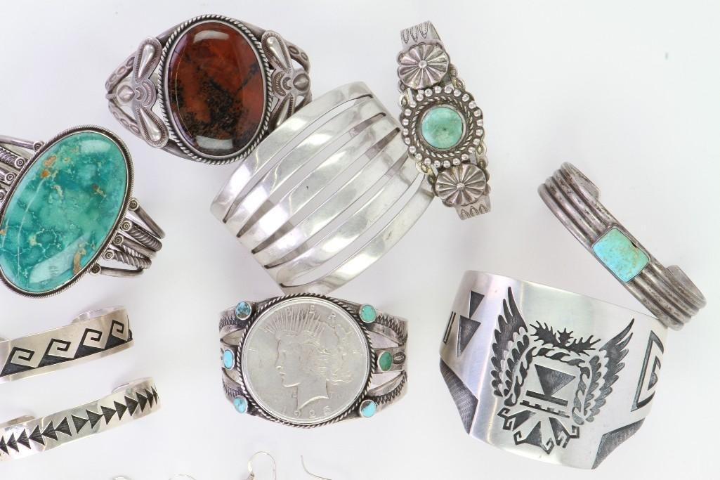 Collection of Navajo and Hopi bracelets and earrings - 4