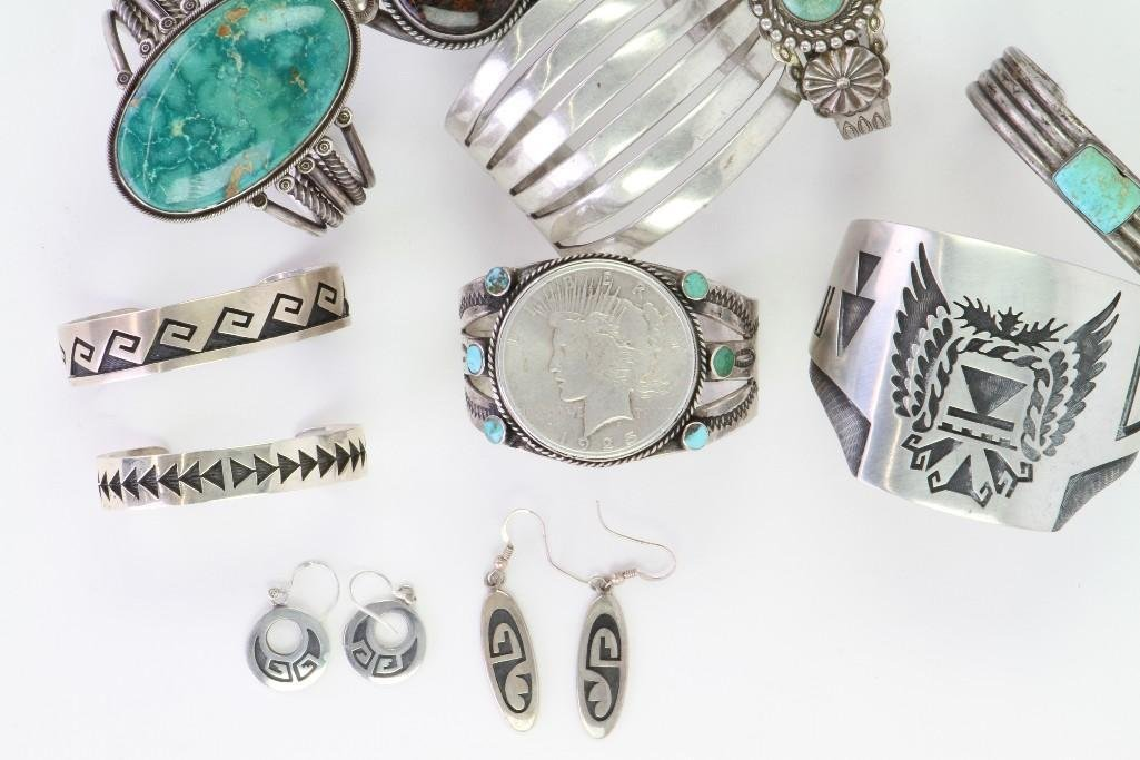 Collection of Navajo and Hopi bracelets and earrings - 5