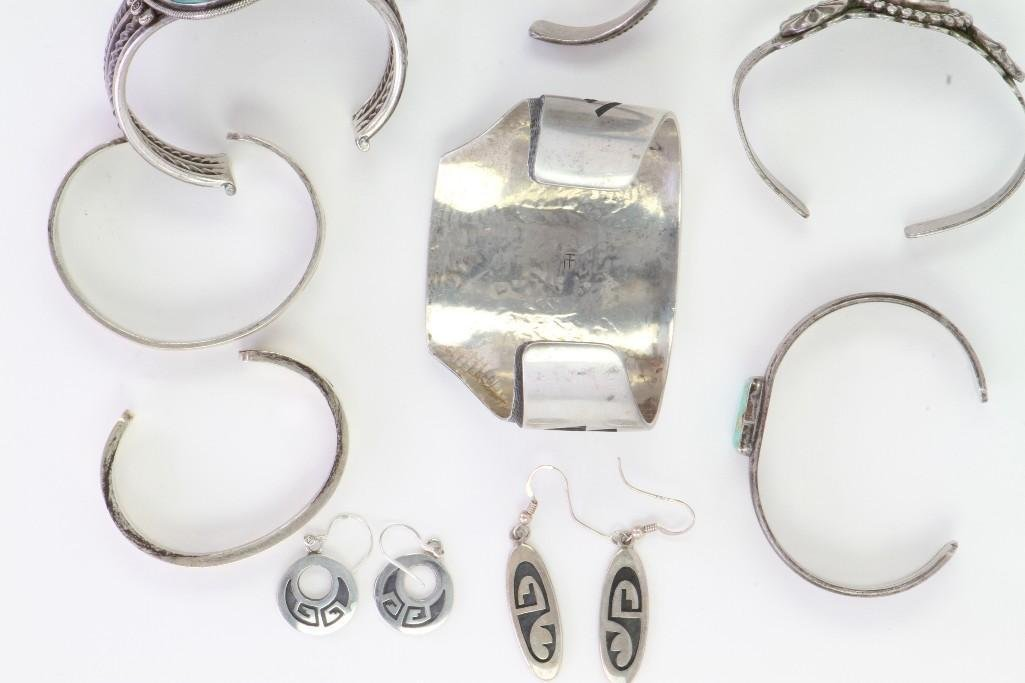 Collection of Navajo and Hopi bracelets and earrings - 6