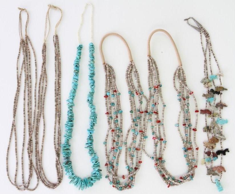 Six Santo Domingo and Navajo necklaces