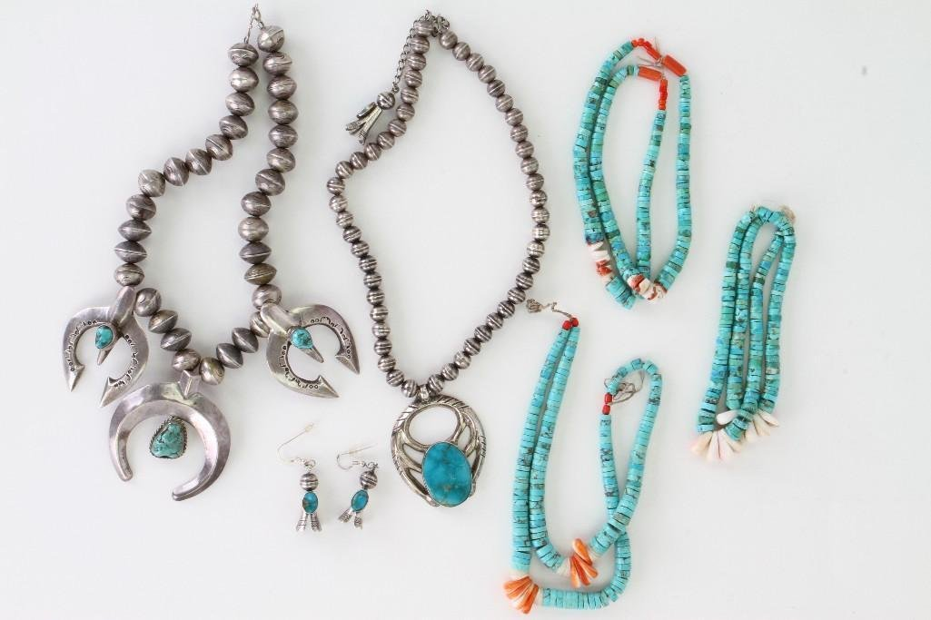 Six Navajo jewelry items