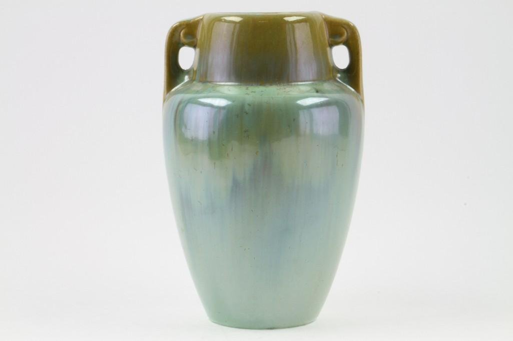 FULPER FLAMBE GLAZED POTTERY TWO HANDLED VASE - 3