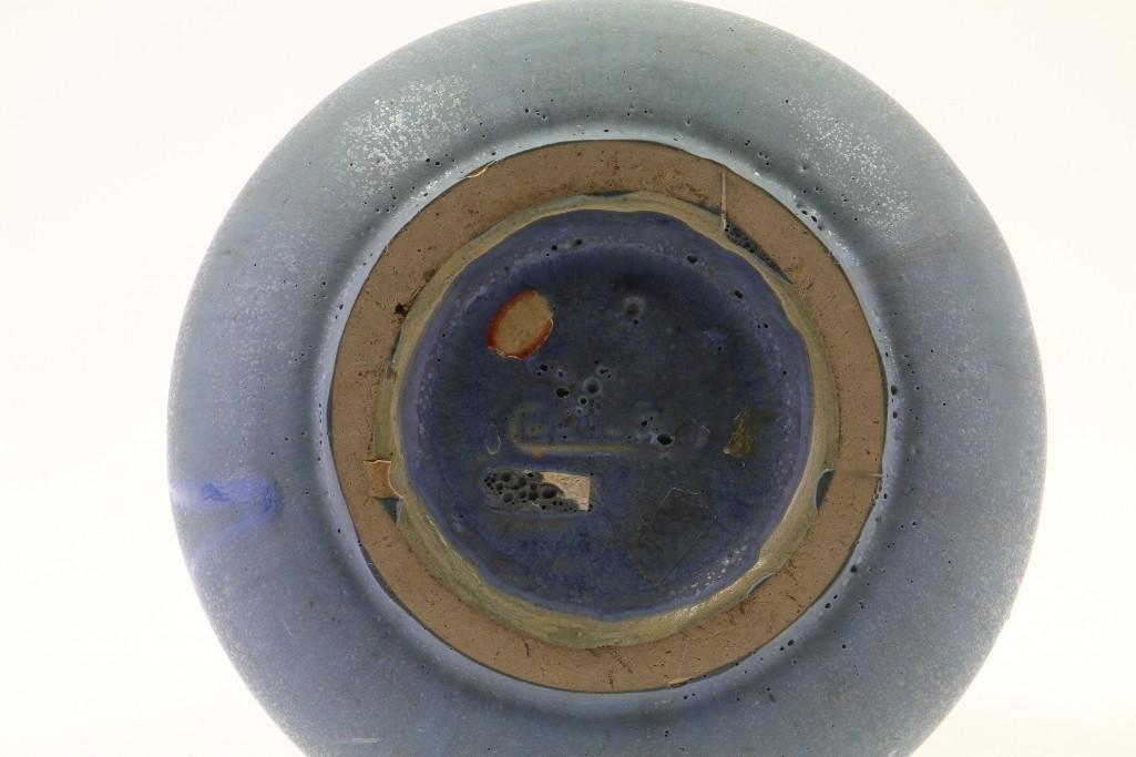 FULPER BLUE GLAZED POTTERY LARGE RING HANDLED VASE - 3