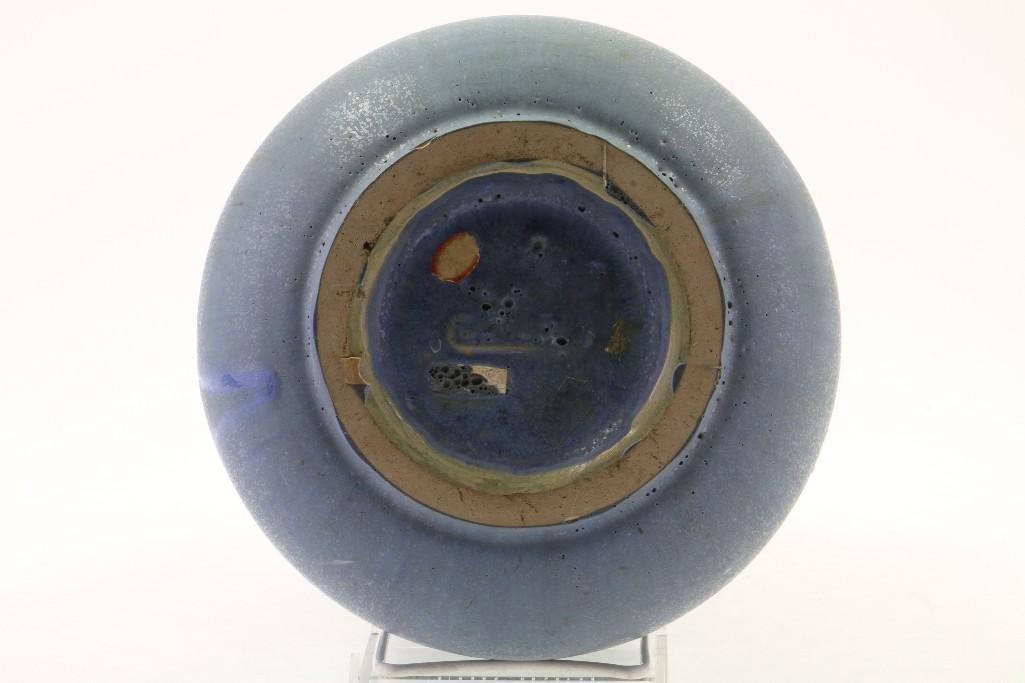 FULPER BLUE GLAZED POTTERY LARGE RING HANDLED VASE - 4