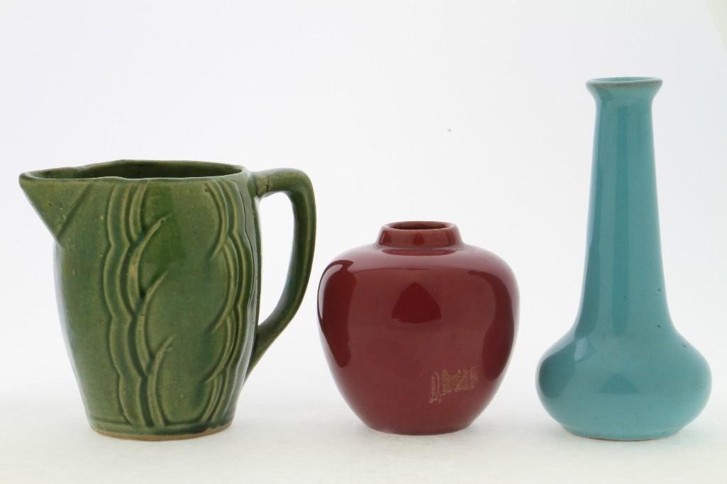 TWO CALIFORNIA FAIENCE VASES & MCCOY POTTERY PITCHER - 4