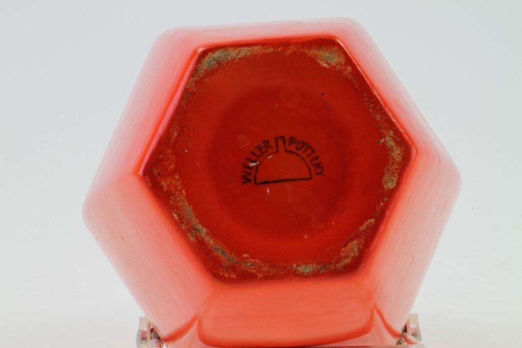 WELLER POTTERY ORANGE GLAZED HEXAGONAL VASE - 5