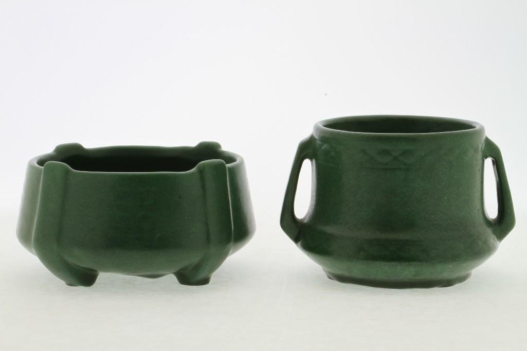 AMERICAN GREEN GLAZED ART POTTERY MOLDED BOWL AND VASE