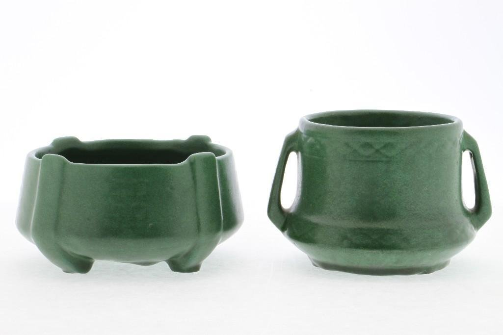 AMERICAN GREEN GLAZED ART POTTERY MOLDED BOWL AND VASE - 2