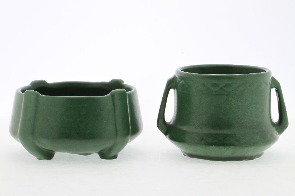 AMERICAN GREEN GLAZED ART POTTERY MOLDED BOWL AND VASE - 3