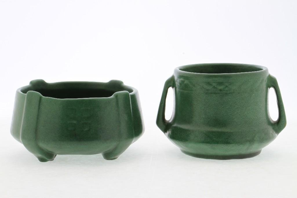 AMERICAN GREEN GLAZED ART POTTERY MOLDED BOWL AND VASE - 4