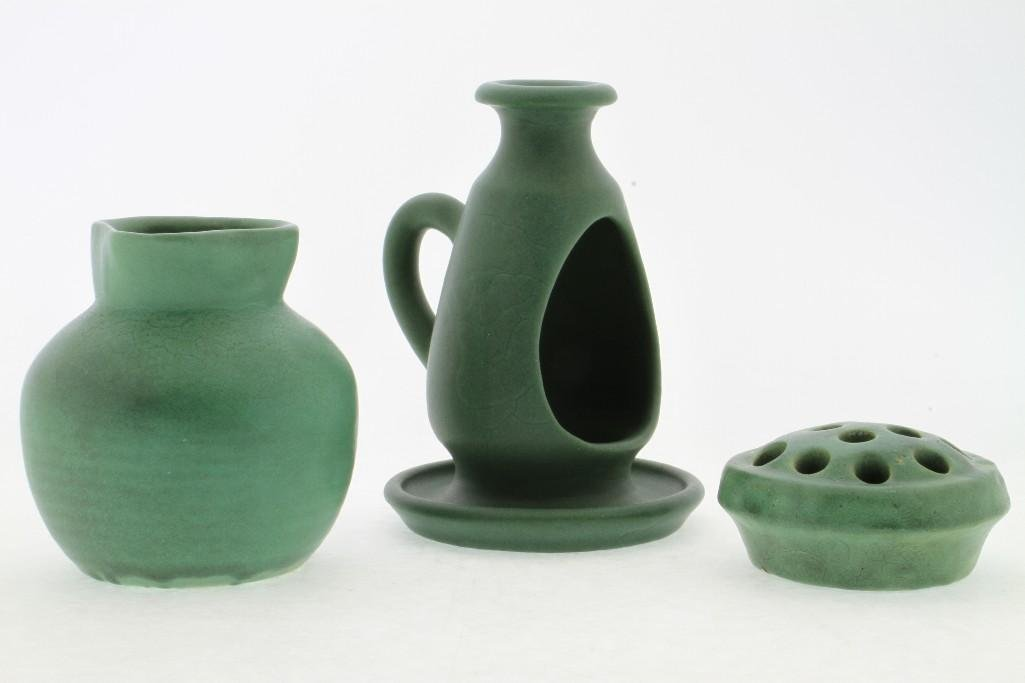 THREE PIECES AMERICAN GREEN GLAZED ART POTTERY