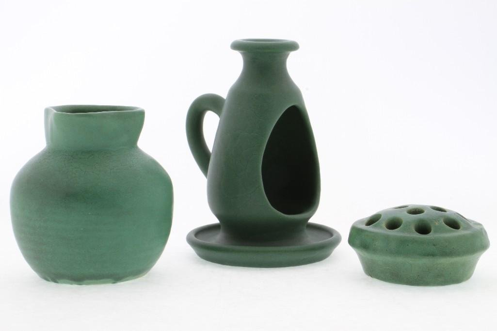 THREE PIECES AMERICAN GREEN GLAZED ART POTTERY - 3
