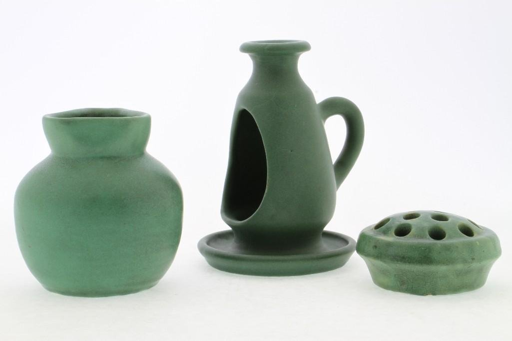 THREE PIECES AMERICAN GREEN GLAZED ART POTTERY - 4