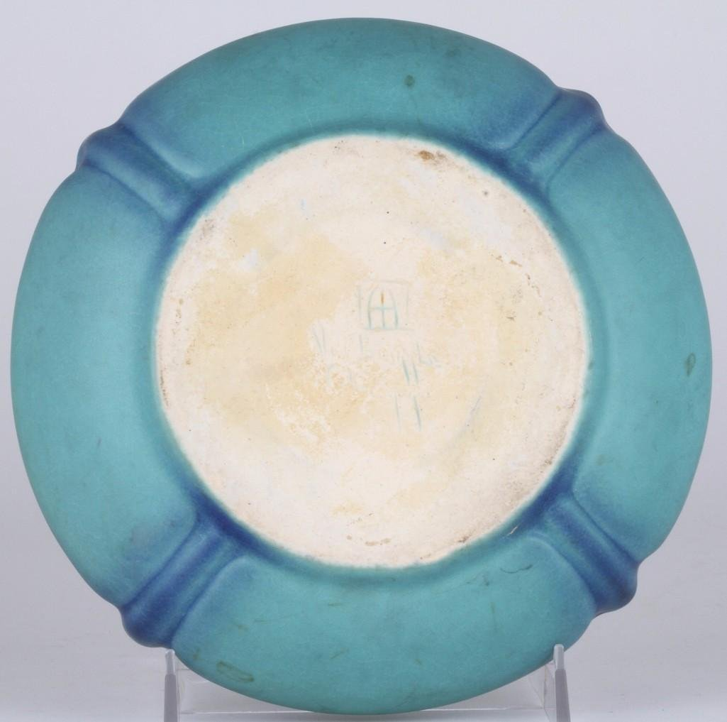 VAN BRIGGLE EARLY BLUE/GREEN ART POTTERY BOWL WITH DRAG - 4
