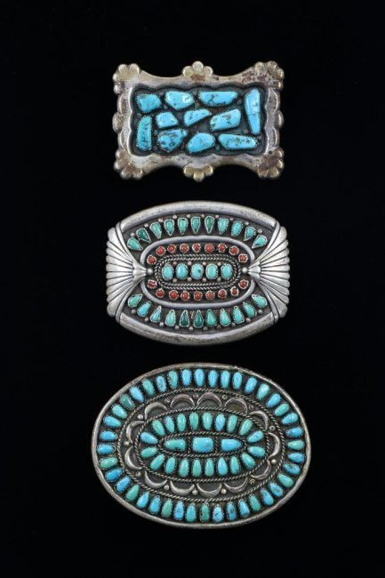 THREE (3) TURQUOISE BELT BUCKLES