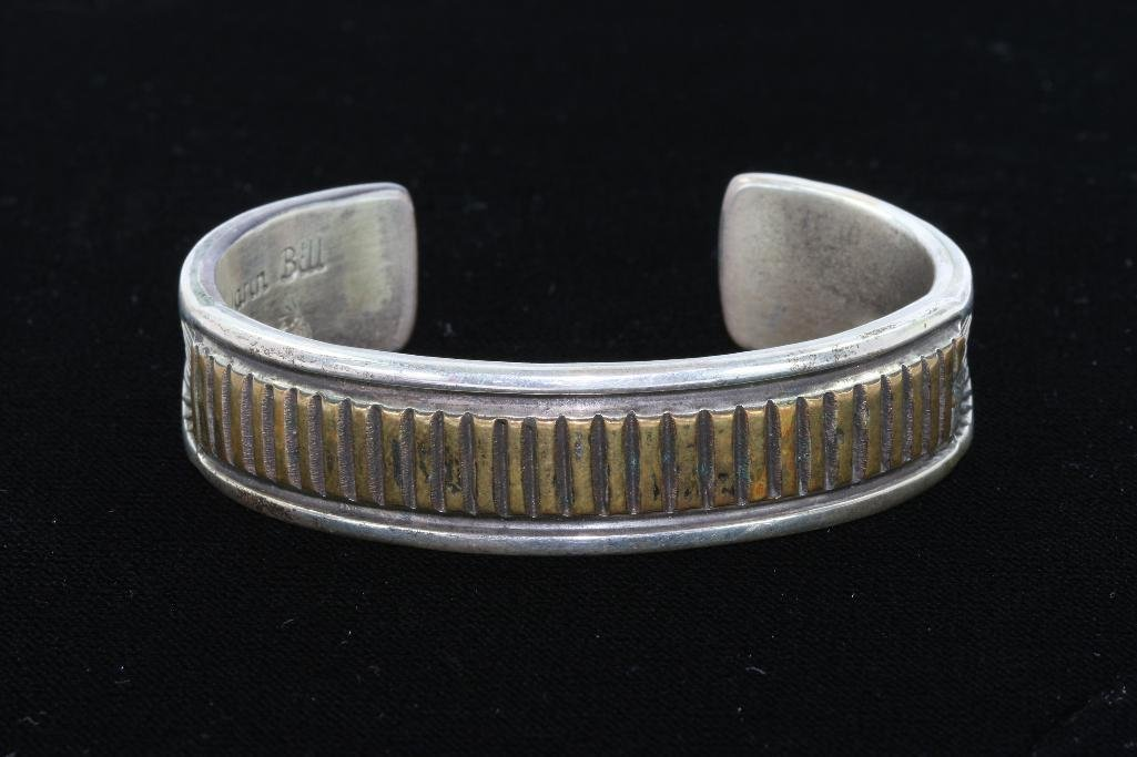 NATIVE AMERICAN CUFF BRACELET STERLING SILVER GOLD
