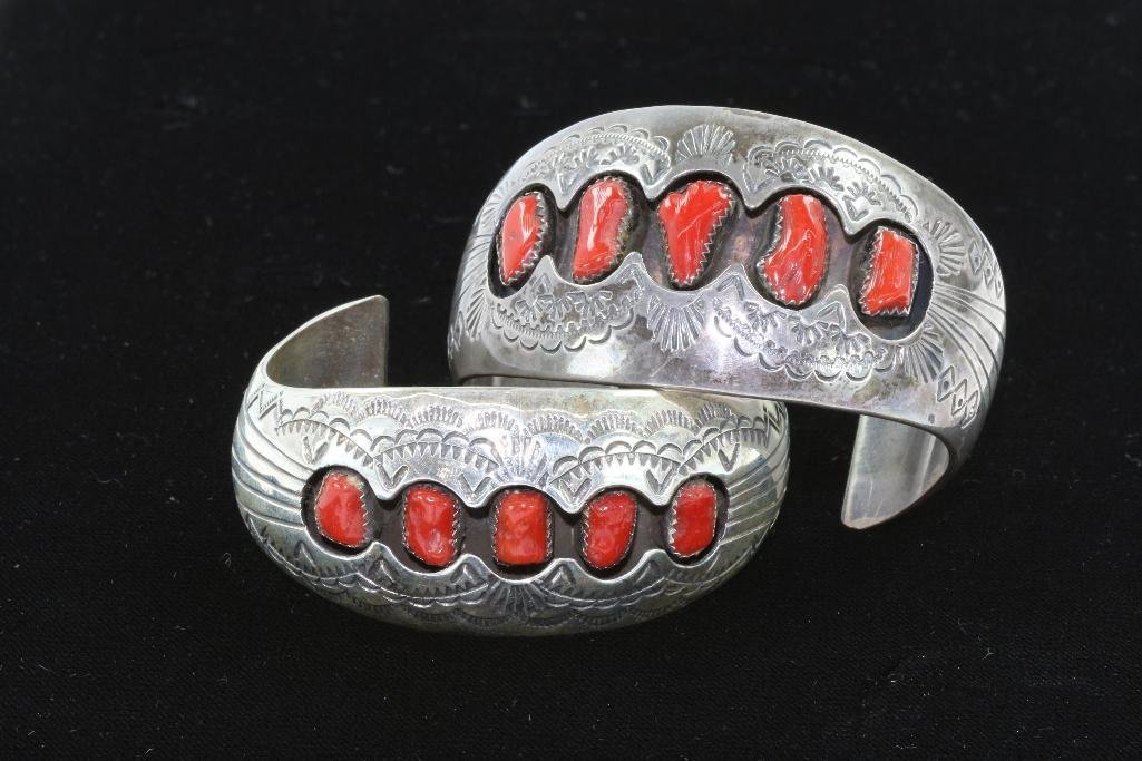 TWO NATIVE AMERICAN CUFF BRACELETS STERLING SILVER AND