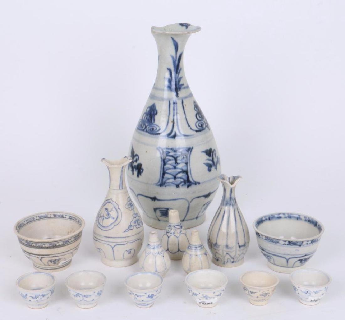 TWELVE 15TH/16TH CENTURY ASIAN BLUE AND WHITE CERAMICS