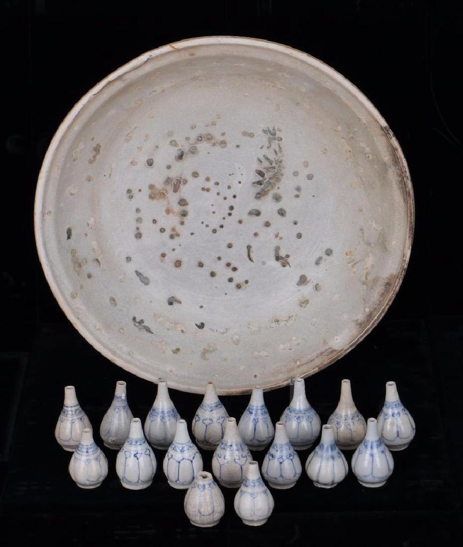 EIGHTEEN 15/16TH CENTURY ASIAN BLUE AND WHITE CERAMICS