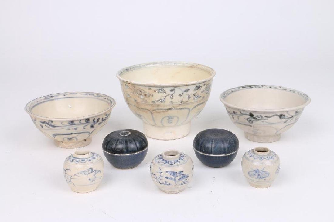 EIGHT 15TH/16TH CENTURY ASIAN BLUE AND WHITE CERAMICS