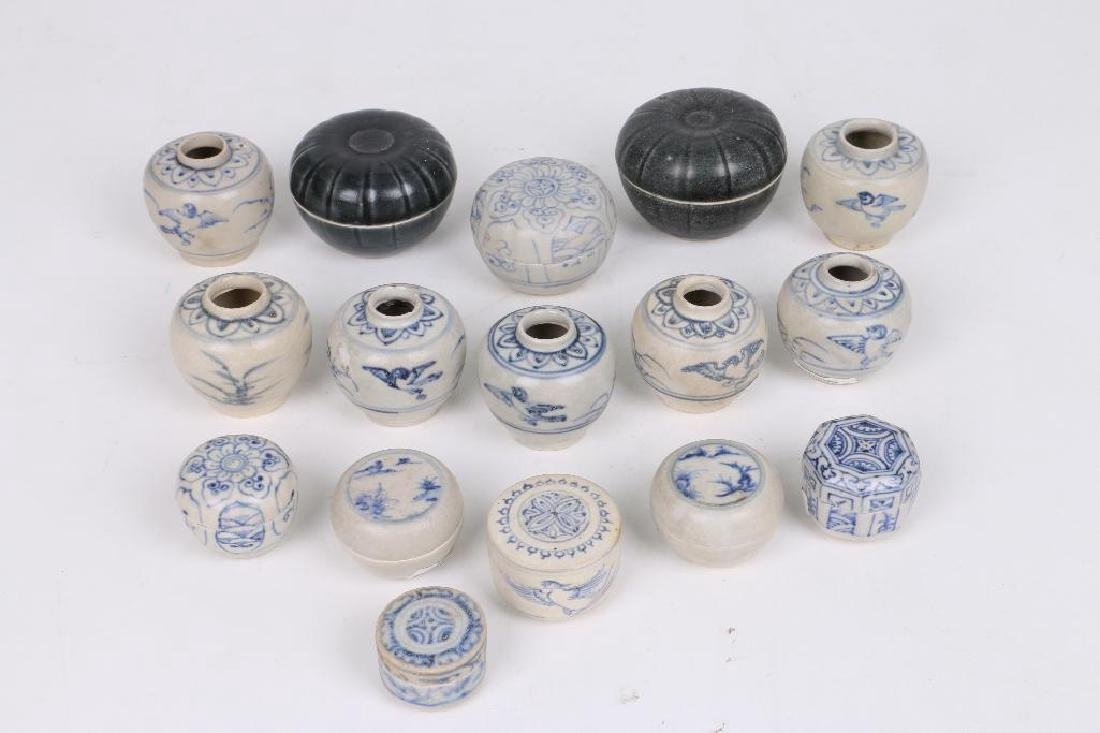 SIXTEEN 15TH/16TH CENTURY ASIAN BLUE AND WHITE CERAMICS