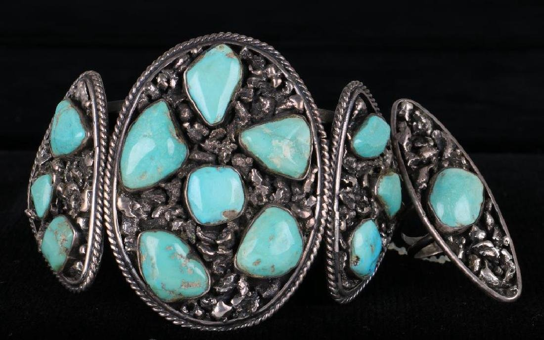 SOUTHWEST TURQUOISE SILVER CUFF BRACELET AND RING