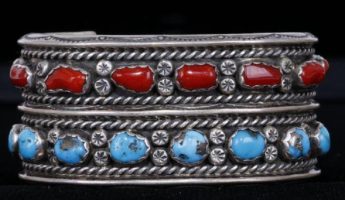 SOUTHWEST CORAL & TURQUOISE STERLING SILVER CUFF BRACEL