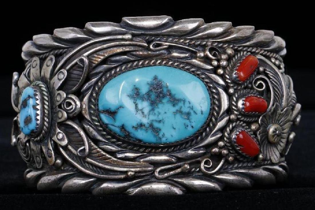 SOUTHWEST TURQUOISE & CORAL STERLING SILVER CUFF BRACEL