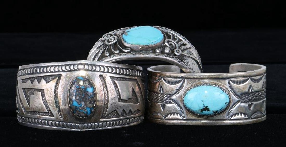 SOUTHWEST TURQUOISE STERLING SILVER CUFF BRACELETS