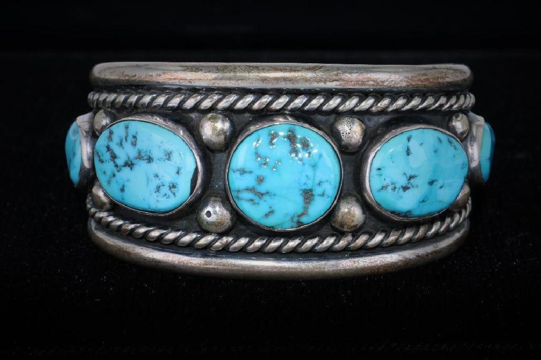 SOUTHWEST TURQUOISE STERLING SILVER CUFF BRACELET