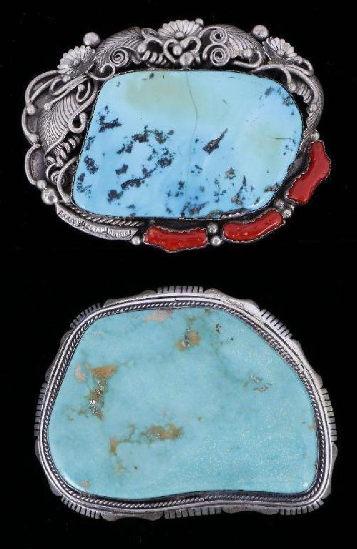SOUTHWEST TURQUOISE & STERLING SILVER BELT BUCKLES