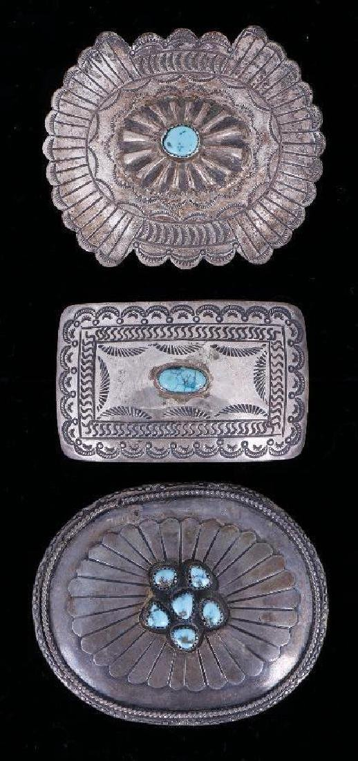 SOUTHWEST TURQUOISE & SILVER BELT BUCKLES