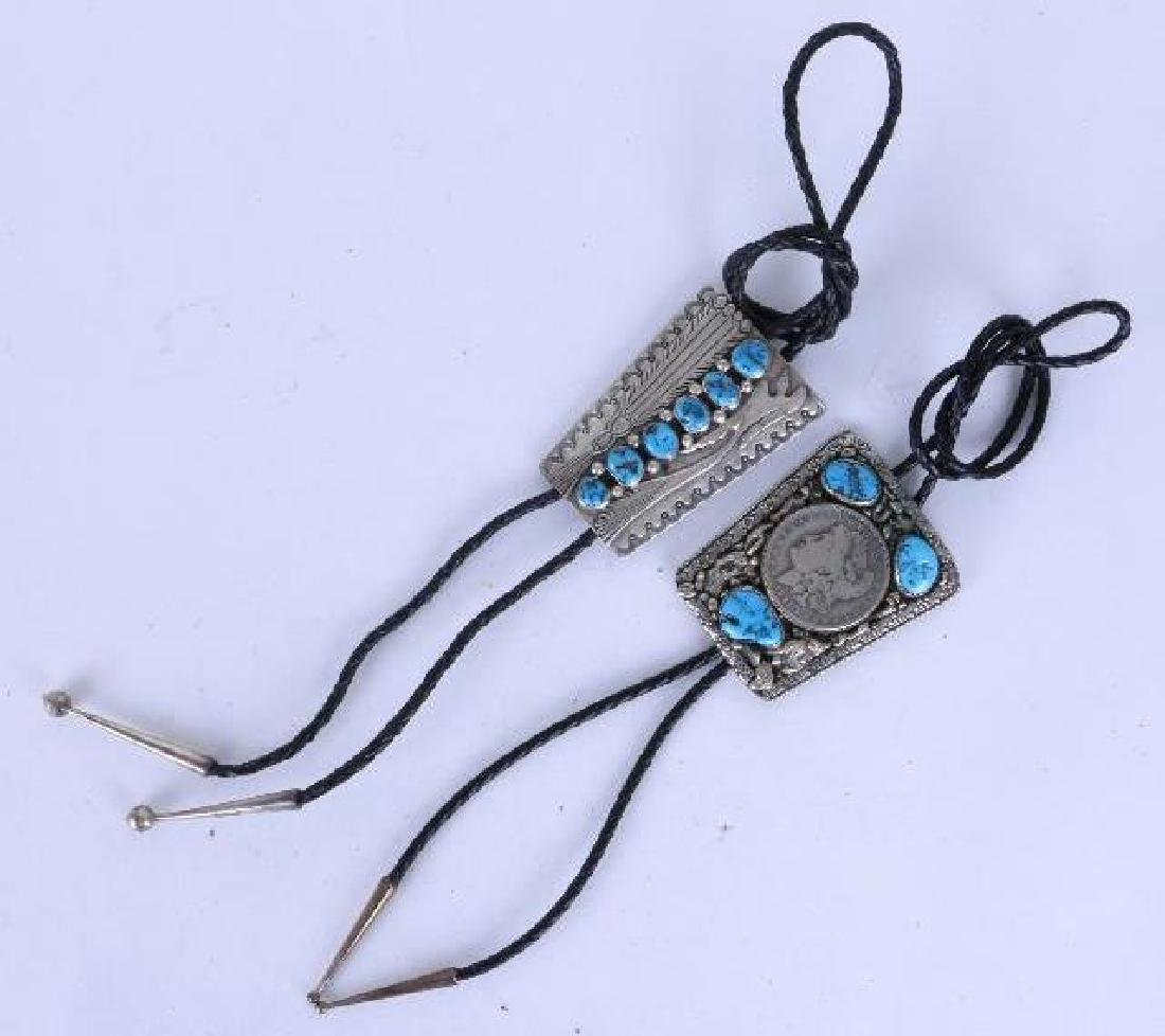 NAVAJO TURQUOISE STERLING BOLO TIES