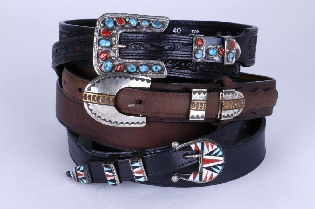 SOUTHWEST TURQUOISE & SILVER LEATHER BELTS