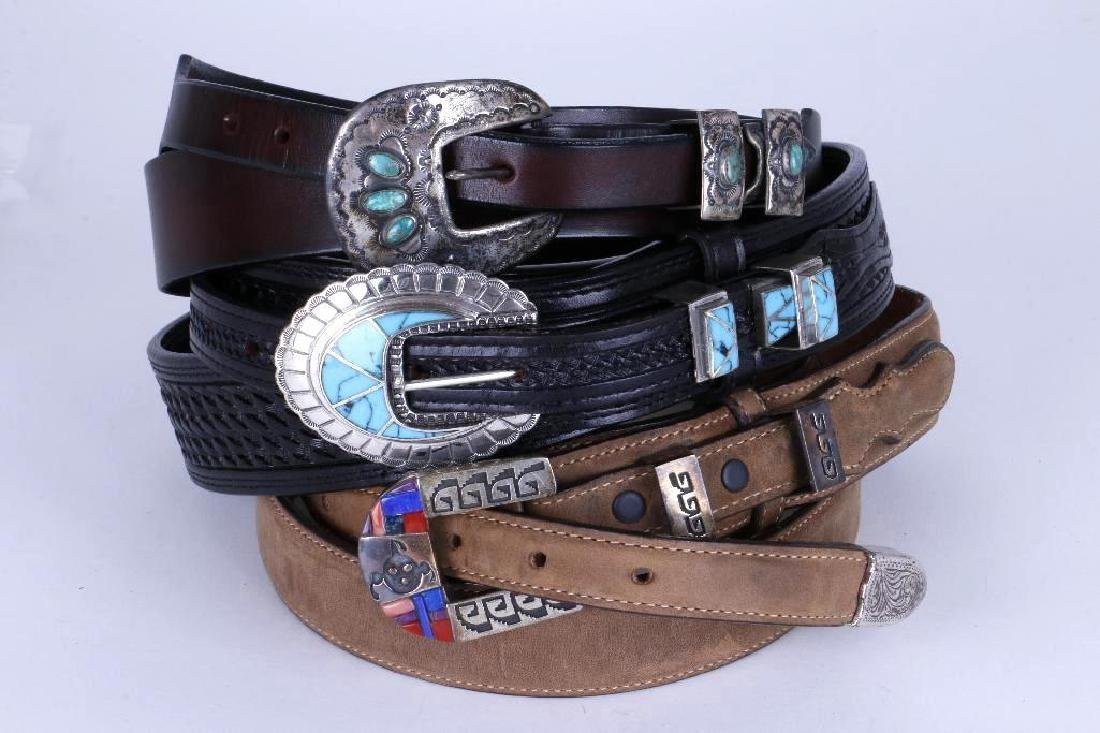 SOUTHWEST TURQUOISE & STERLING LEATHER BELTS