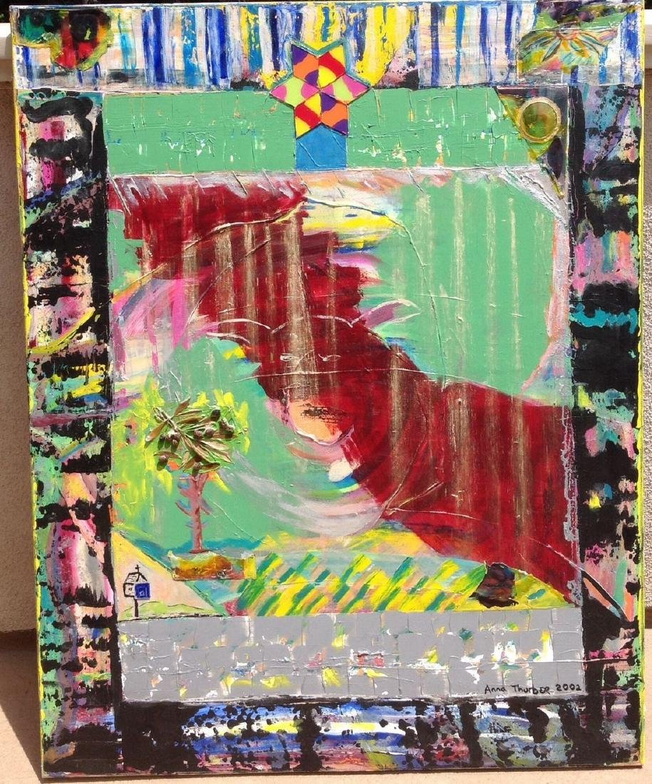 Anna Thurber -Oil Painting Mix Media Collage on Canvas