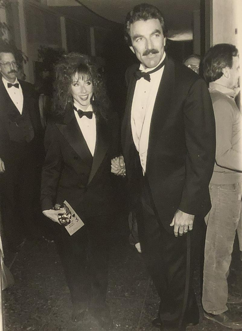 Tom Selleck of Magnum P.I. with wife at 45th Golden