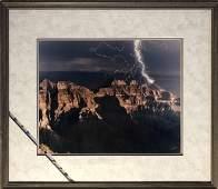Lightning striking mountains