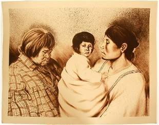Three Daughters Serigraph by John Lightfoot Numbered