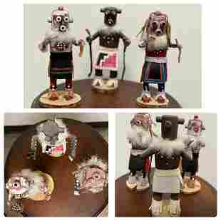 Three Kachina Mudhead Dolls