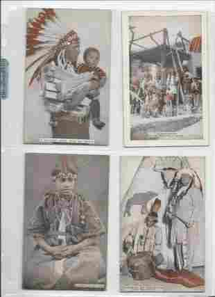 Cowboy and Indian penny arcade cabinet cards