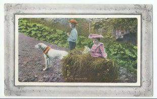 Two Kids & Dog (RPPCs) Painted Image