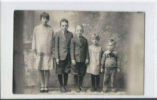 Five Children in a Row (RPPC)