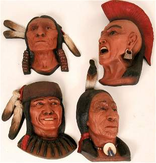 Four Ceramic Native American Masks